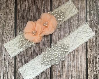 Wedding garter, peach garter, rhinestone garter, ivory garter, garter toss, lace and pearl, wedding garter set, garter set