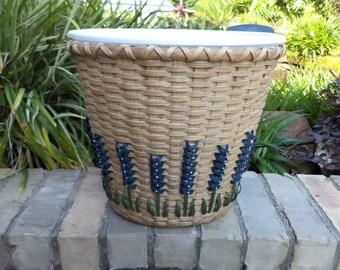 Texas Bluebonnet Medium Waste Basket Bluebonnet Trash Basket Bluebonnet Basket Texas Bluebonnets Handwoven Basket