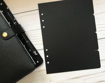 4 Side Tab BLACK Plastic Planner Divider | A5 Size Planner Dividers
