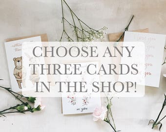 Three cards for 12 - greeting card - valentines day - valentine - love - best friend - spouse - anniversary stationary