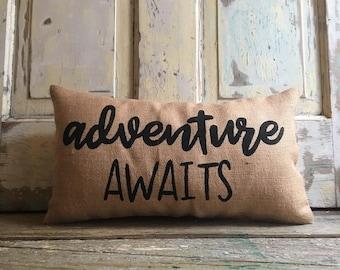 Pillow Cover |  'Adventure Awaits' pillow | burlap pillow | kids room pillow | kids room decor | Adventure pillow | Pillow Cover | Boys Room