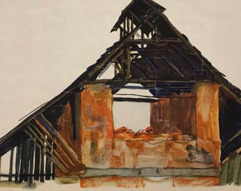"Egon Schiele ""Old Brick-Shack"" from Egon Schiele-As a Draughtman by Otto Denesch, 1950, 9.25 x 13.5 inches"