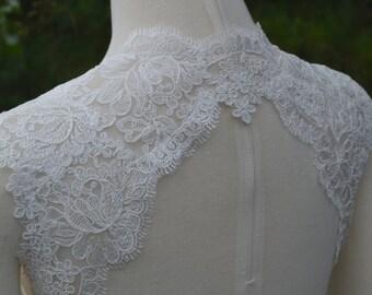 Wedding Bridal Ivory Corded Lace Keyhole Back Open Back Backless Bolero Shrug Jacket. Made to order.