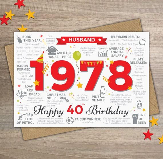 il_570xN.1394133048_6ly1?version=0 happy 40th birthday husband greetings card born in 1978 year