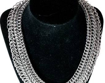 Silver Chainmaille Necklace - Stainless Steel - Half Persian 3 Sheet 5 - Chainmail Jewelry