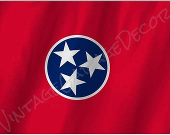 Tennessee State Flag on a Metal Sign