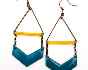 chevron CELINE golden triangle earrings