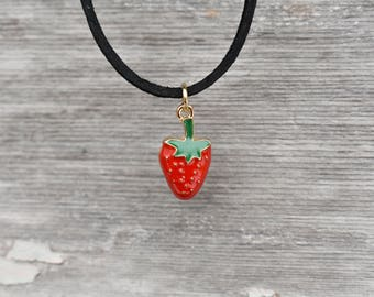 Strawberry Necklace, Strawberry Choker, Strawberry Jewelry, Fruit Necklace, Fruit Jewelry, Strawberry Lover, Strawberry Charm Necklace