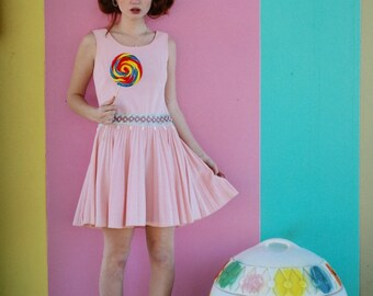 Party Dress... Pleated Dress... Pale Pink... 60s... Cute.. Dollybird... Dress..Spring... Mod...Babydoll... Retro... Vintage