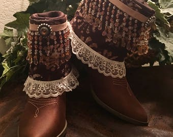 Upcycled Reworked Festival Statement Boots-Somersett