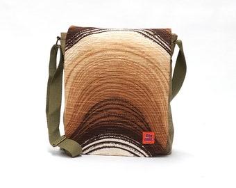 Aria - Vintage Fabric Upcycled Messenger Bag - Canvas Shoulder Bag - Retro Crossbody Bag by EllaOsix