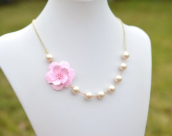 Pink Cherry Blossom and Pearls Earrings. Pink Sakura Blosssom Asymmetrical Necklace. FREE EARRINGS