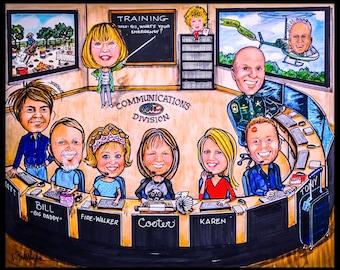 Custom caricature, retirement gift, retirement women, retirement men, personalized caricature, portrait caricature, family portrait,