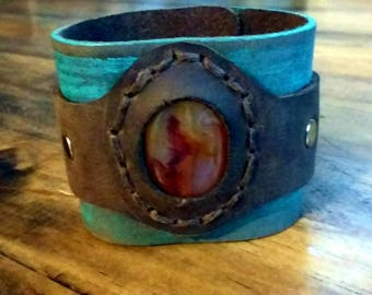 Dark brown and turquoise leather cuff