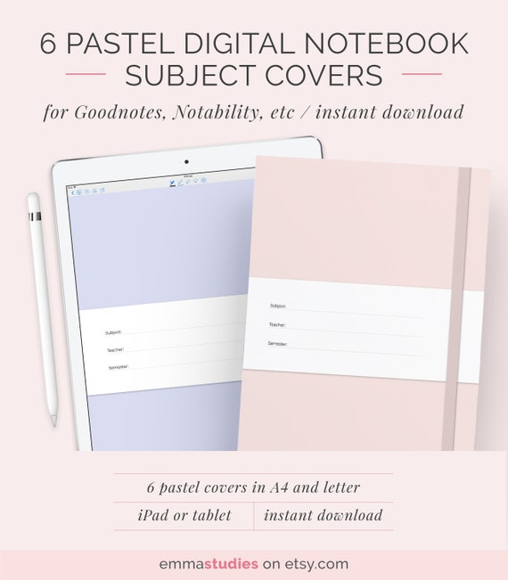 6 Digital Notebook Cover Template A4 and Letter Pastel