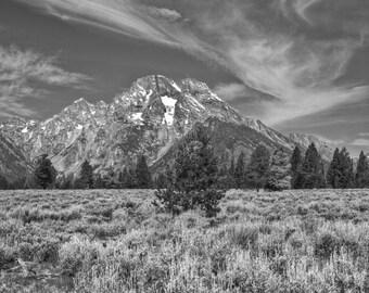 Teton Mountains, Fine Art Black and White Photography, Nature Photography