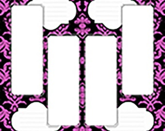 Photo Strip Page for Albums, Scrapbooks or Memory Books (12X12). Pink Damask, Design for 2X6 Strips