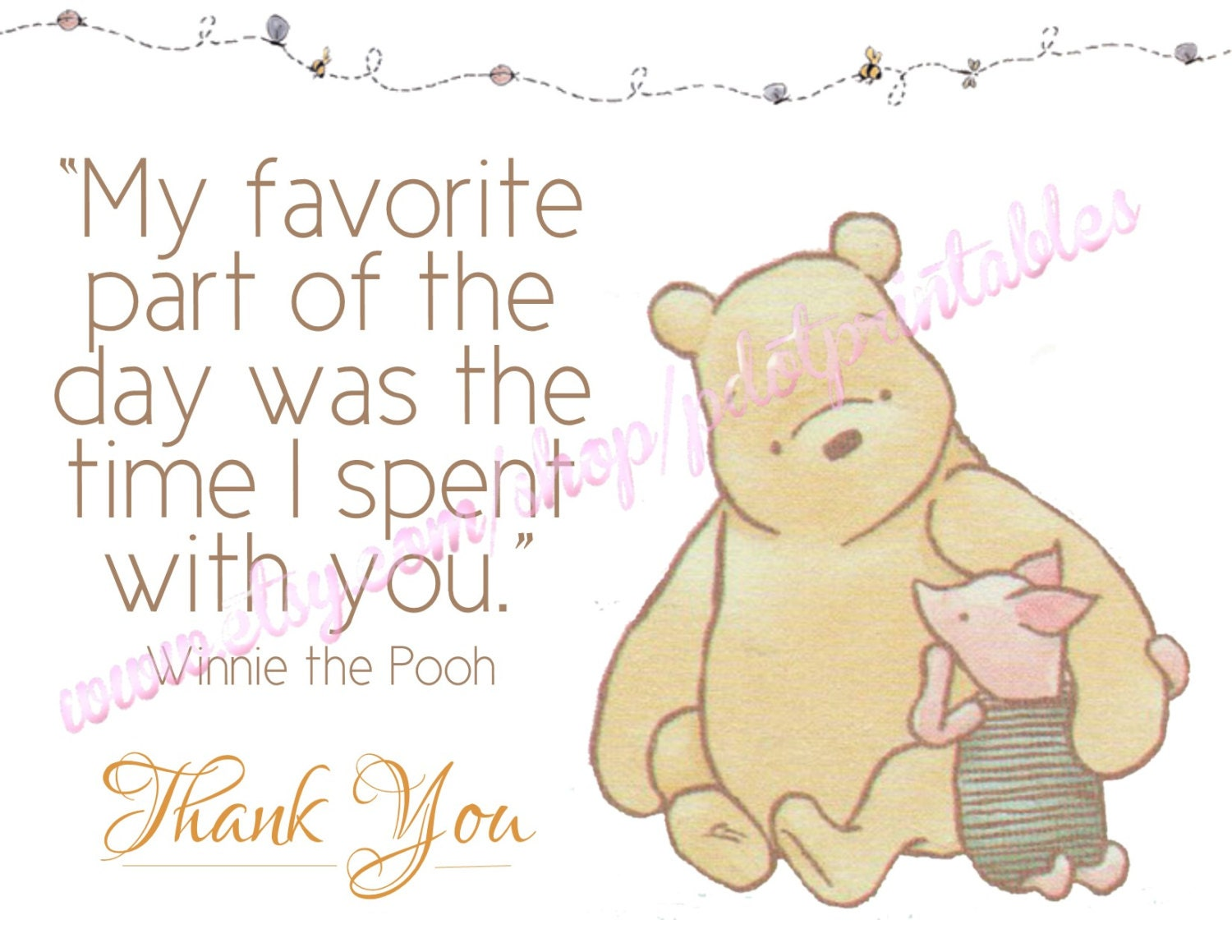 Gender Neutral Classic Winnie the Pooh Thank You Card