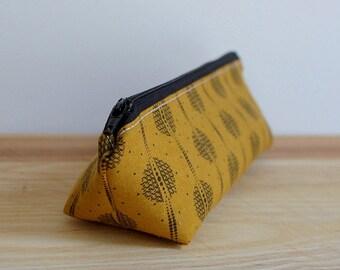 Boho Pencil Case, Modern Zipper Pouch, Back to School Supplies, Pencil Zipper Pouch, Cosmetic Bag, Gold Boho Zipper Pouch