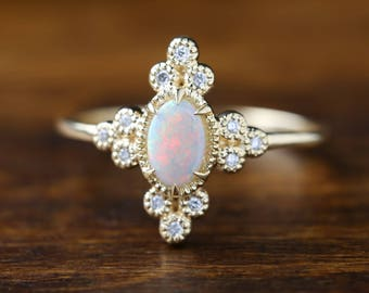 Genuine opal diamond ring, 14k yellow gold oval opal ring, Gorgeous opal ring, Beautiful opal, Large opal solitaire ring