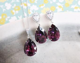 Sandra- Amethyst Purple Swarovski Crystal Teardrop Cubic Zirconia Teardrop Earrings Necklace Set, Bridesmaid Bridal Jewelry Wedding