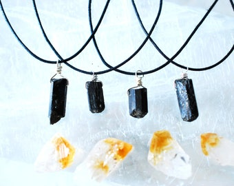 FREE SHIPPING  Raw Black Tourmaline and Silver Crystal Necklace / Protection Amulet with Cotton Cord / Raw Black Tourmaline Pendant