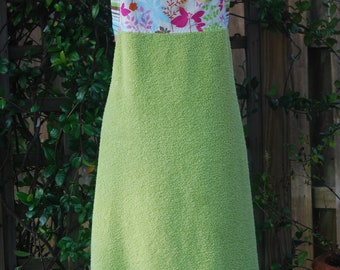 Baby Bath Apron Towel, Green, Enchanted Forest With or Without Monogram