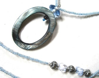 Beaded Lanyard, Eyeglass or ID Badge Holder, Badge Clip Necklace, ID Holder Necklace