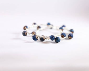 Silver and Navy Clay Wire Wrapped Bracelet Set