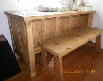 Handcrafted Aged Wood Storage Table and Bench