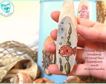 Pufferfish Fugu Magnet, Driftwood Pyrography Magnet #DWM19