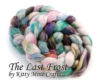 The Last Frost on Superfine Merino Wool, Milk and Banana Fiber - 4oz/ 113g - Spinning Supplies - Combed Top - Roving - Phat Fiber