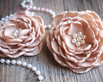 "Set of 2 - Tan 4"" Satin Flowers - Soft Satin Layered Fabric Flowers - Tan Burned Edges Fabric Flowers - Hair accessories"