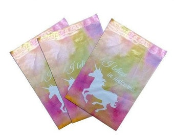 TAX SEASON Stock up 25 Pack Tear Proof Unicorn Design Plastic Poly Mailing Self Stick Closing Envelopes  6X9 Inches