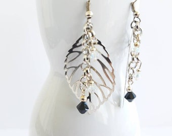 Silver colored leaf earrings - black and clear bicone gems = earrings - jewelry
