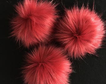 Red Faux Fur Pompom / Red Fur Pom Pom / Beanie Topper