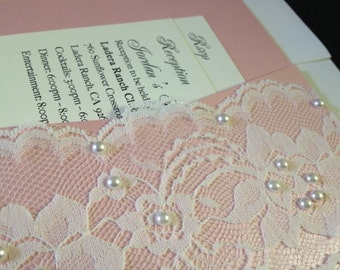 50 Wedding Invitations - Pink Pocketfold with Lace & Pearls Invitations -  new invitations - Swee Fifteen - Sweet Sixteen