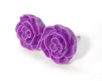 Purple Flower Earring Posts