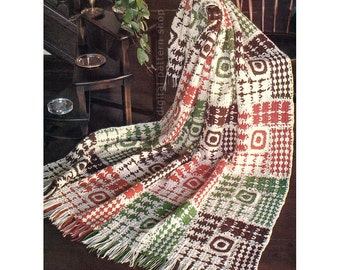 Crochet Blanket Pattern Vintage Woven Squares Afghan Crochet Pattern Throw Instant Download PDF - C144