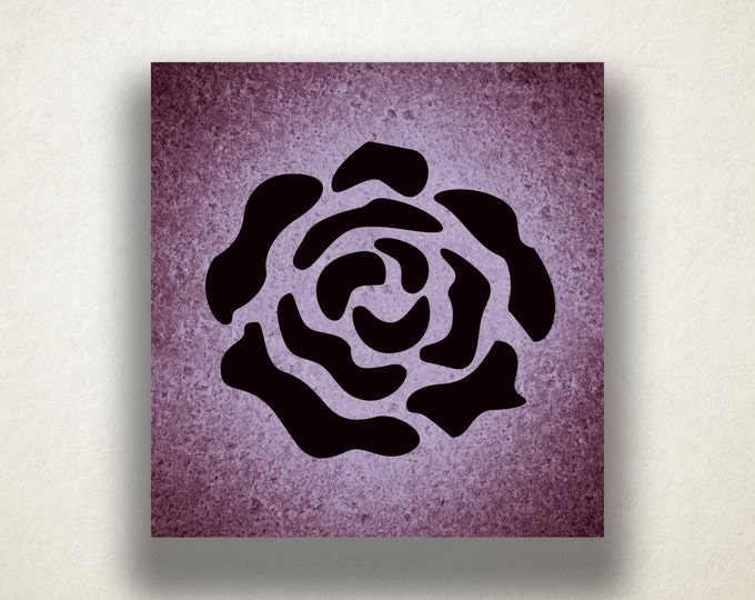Rose Silhouette Canvas Art Print, Rose Wall Art, Purple Canvas Print, Artistic Wall Art, Canvas Art, Canvas Print, Home Art, Wall Art