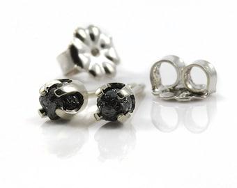 Jet Black Rough Diamonds on 14K White Gold Ear Posts - Raw Diamond Stones - Gold Ear Studs - April Birthstone
