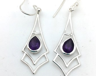 Modern Amethyst Earrings