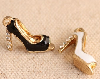4pcs-enamel black high heel shoe Charm w/ rhinestone -You pick the color
