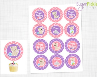 Kitty Cupcake Topper, Kitty Birthday, Kitty Party Printable, Kitty birthday party, Cat Cupcake Toppers, Pink & Purple Cat Party - 2.25 inch