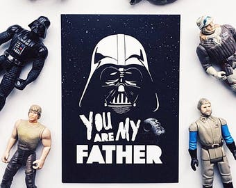 A5 Funny Father's Day Card, Darth Vader, The Dark Side, Star Wars. You Are My Father, Storm Trooper, Death Star, Father's Day, card for him