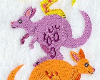 Colorful Kangaroo Stack Embroidered Flour Sack Hand/Dish Towel
