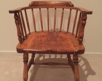 Antique Solid Oak Wood - Captain's Chair - Very nice ! Bentwood Thonet Style