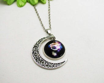 Silver Galaxy Necklace - Half Moon Necklace - Nebula Necklace - Boho Crystal Necklace - Universe Necklace - Space Necklace - Galaxy Jewelry