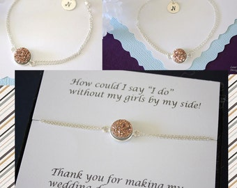 5 Personalized Bridesmaid BraceletCopper Druzy, Bridesmaid Gift, Initial Jewelry, Sterling Silver, Thank You Card, Rose Gold, Drusy