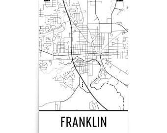 Franklin Map, Franklin Art, Franklin Print, Franklin IN Poster, Franklin Wall Art, Franklin Gift, Map of Franklin, Franklin Decor, Map Art